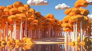 C4D模型-多边形低面体C4D模型包场景小山景山体湖卡通三维场景模型含材质贴图