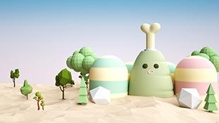 C4D模型-多边形低面体C4D模型包场景小山景卡通鸡腿植物沙漠模型含材质贴图