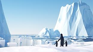 C4D模型-多边形低面体C4D模型包卡通冰山企鹅冰川卡通三维模型含材质贴图