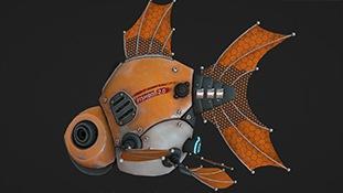 C4D模型-C4D使用OC渲染器制作科幻机械鱼机械动物三维模型含材质贴图