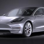 跑车汽车C4D模型Tesla_Model_3_2018