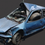 C4D模型-C4D报废破旧车辆交通模型扫描3D模型 – Scanning model of damaged car
