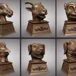 C4D模型-圆明园十二生肖兽首铜像C4D模型合集创意场景3D模型素材